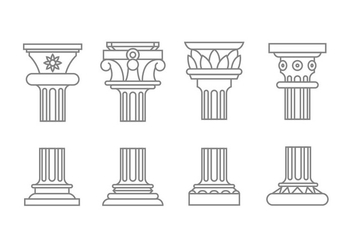 Roman column icons - vector #444505 gratis