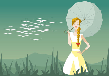 Young Beautiful Woman With a Plait And Umbrella Vector - Free vector #444735
