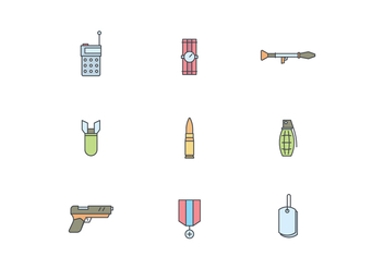 Simple Military Icons - Free vector #444825