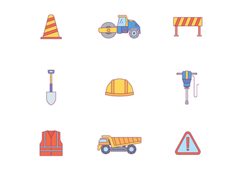 Road Work Icons - Free vector #444915