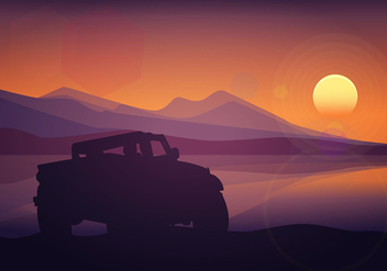 Offroad Silhouette Sunset Free Vector - vector #444935 gratis