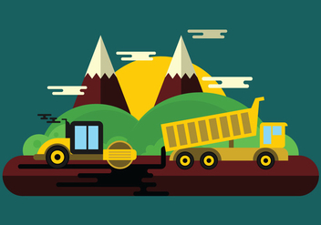 Road Work Illustration - Free vector #444945