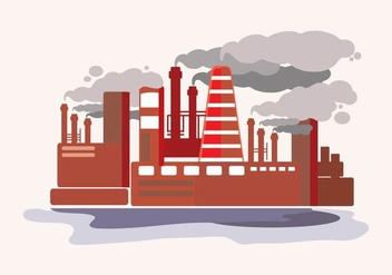 Smoke Stack Flat Illustration - vector gratuit #444985
