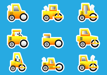 Road Roller Bulldozer Stickers - бесплатный vector #445095