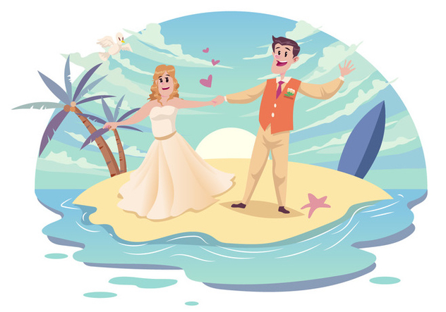 Beach Wedding Couple Vector - Kostenloses vector #445165