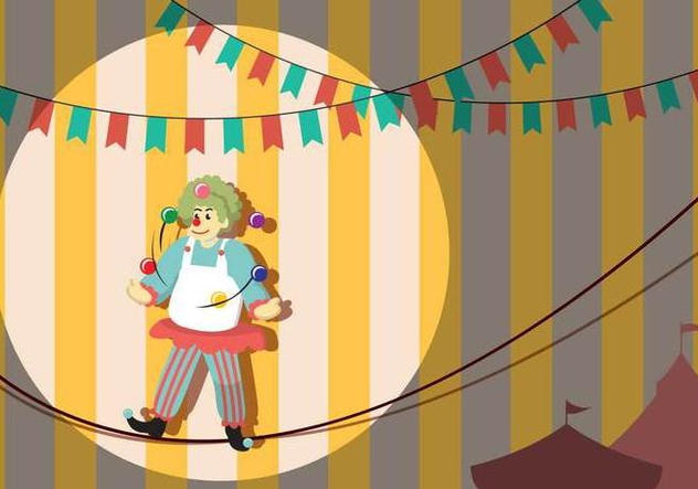 Clown Walking On Tightropel Illustration - Free vector #445195