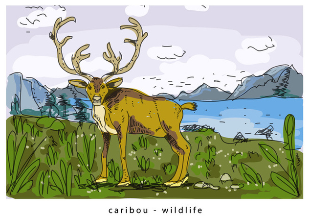 Brown Wild Caribou Background Hand Drawn Illustration - Free vector #445245