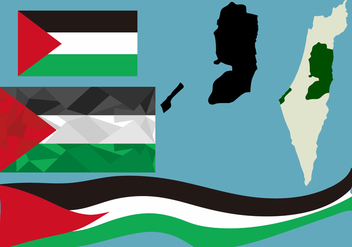 Gaza Flag and Map - Kostenloses vector #445265
