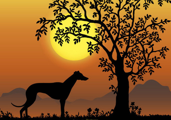 Landscape Scene with Whippet Breed Silhouette - vector gratuit #445285