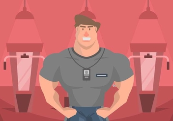 Muscleman Personal Trainer Illustration - бесплатный vector #445325