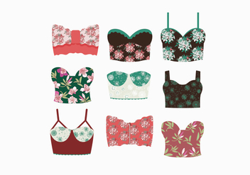 Floral Patterned Bustier Vectors - бесплатный vector #445395