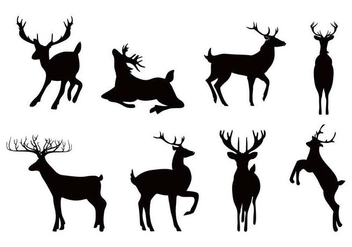 Free Deer or Caribou Silhouettes Vector - Kostenloses vector #445415