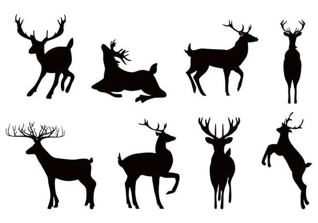 Free Deer or Caribou Silhouettes Vector - vector gratuit #445415