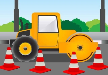 Road Roller for Construction on the Road Vector - vector gratuit #445445