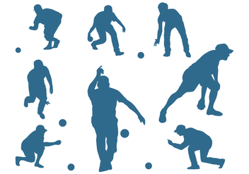 Men Silhouettes Playing Bocce - vector gratuit #445505
