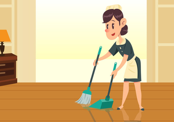 Maid Girl Sweeping Floor Vector - vector gratuit #445535