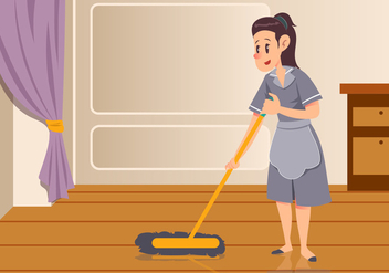 Maid Sweeping Floor Vector - vector gratuit #445545