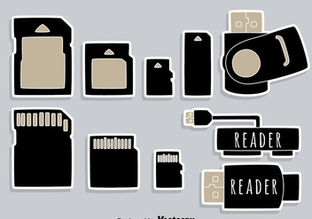 Usb Card Reader Element Icons Vector - бесплатный vector #445575