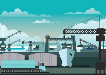 Illustration of Shipyard at Work - Free vector #445595