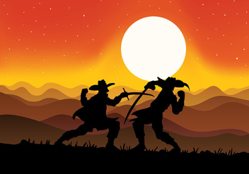 Musketeers Fighting Vector Background - бесплатный vector #445675