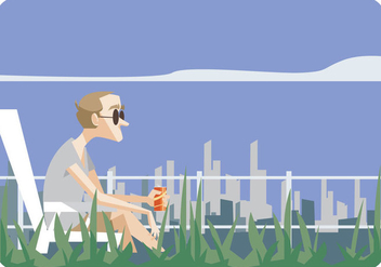 Man Sitting in Lawn Chair Vector - бесплатный vector #445685