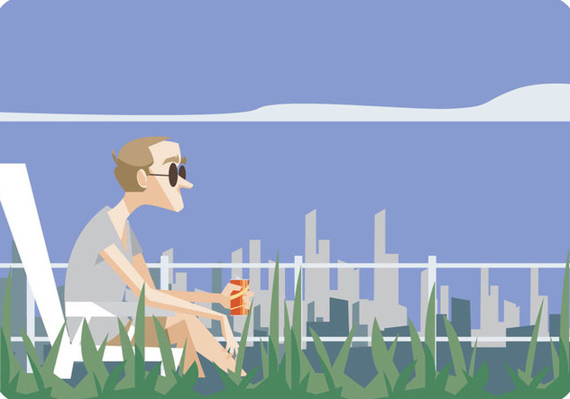 Man Sitting in Lawn Chair Vector - Kostenloses vector #445685