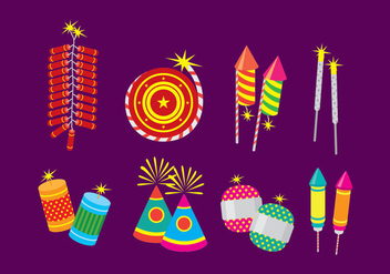 Diwali Fire Cracker Flat Icons - vector gratuit #445785