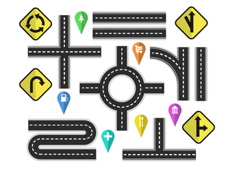 Variation Roads With Street Signs Vector Elements - Free vector #445825