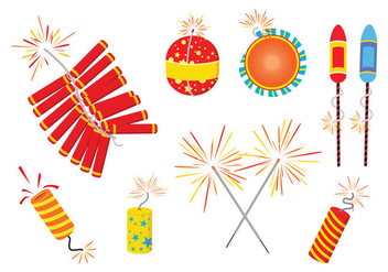 Diwali Fire Crackers Vectors - vector gratuit #445835