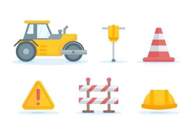 Free Outstanding Road Construction Vectors - vector gratuit #445895