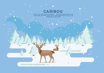 Snow Caribou Vector Flat Illustration - Free vector #445935