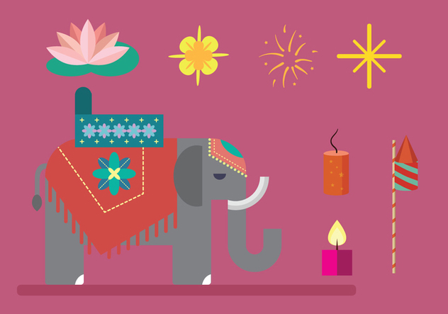 Diwali Elements Vector - vector #445965 gratis