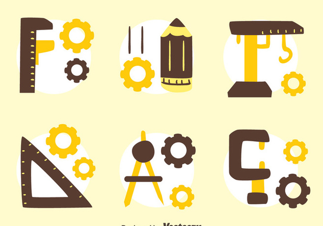 Hand Drawn Enginer Tools Collection Vector - бесплатный vector #445975