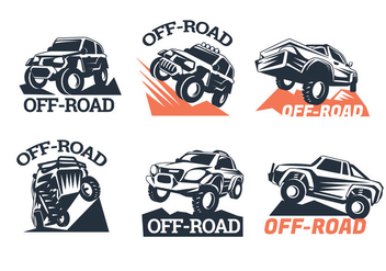 Set of Six Off-road Suv Logos on White Background - Free vector #446015