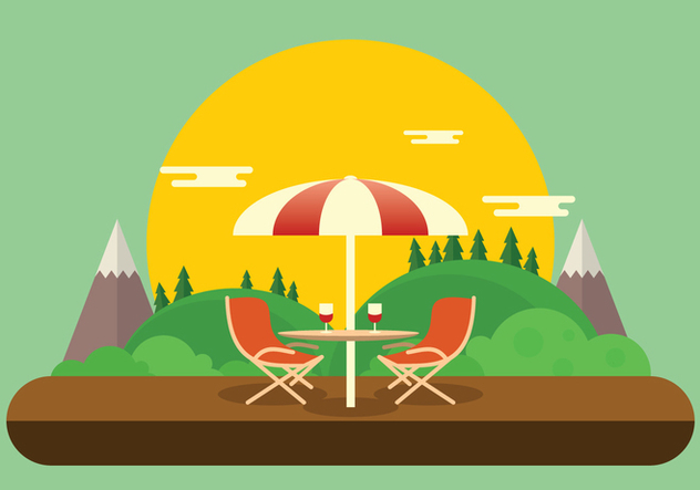 Romantic Lawn Chair Set Up with Wine Glasses Vector - бесплатный vector #446035
