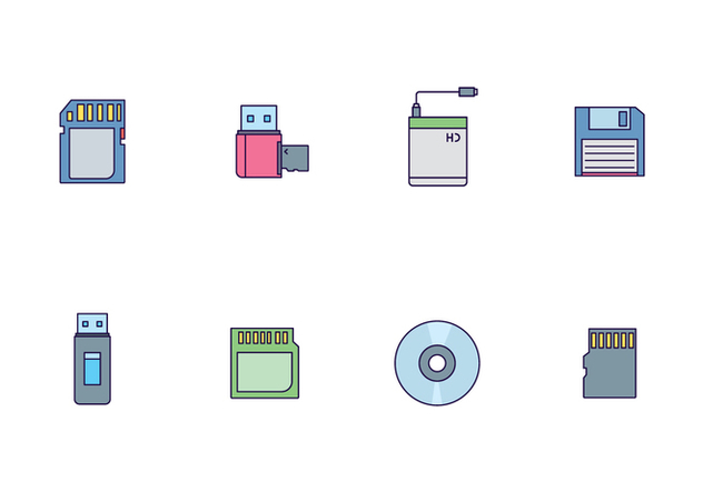 Icon Pack of External Storage Devices - vector gratuit #446085