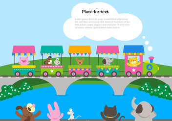 Cute Cartoon Train With Waving Animals - vector gratuit #446325