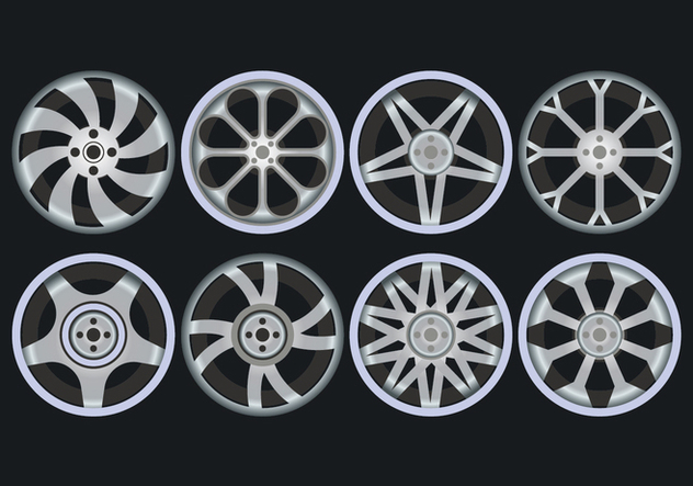 Alloy Wheels Icons Set - vector #446375 gratis