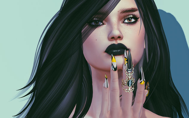 Tania Stileto Mesh Nails by SlackGirl @ Ross & Claw Bento Mesh Ring by SlackGirl - бесплатный image #446455