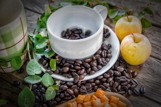 Tableware, coffee beans and apples - Free image #452405