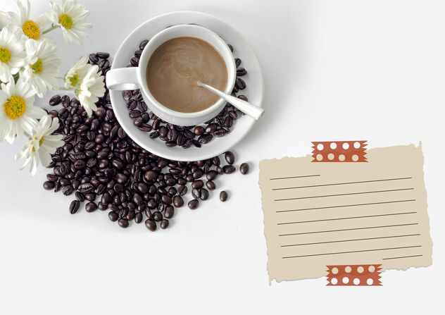 Cup of coffee, coffee beans and paper for notes - image gratuit #452415