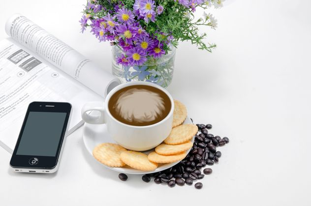 Coffee with crackers, flowers and smartphone - Free image #452445