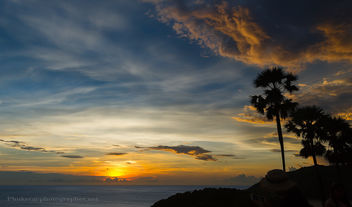 Sunset with Palms at Promthep Cape, Phuket island, Thailand - Kostenloses image #454215