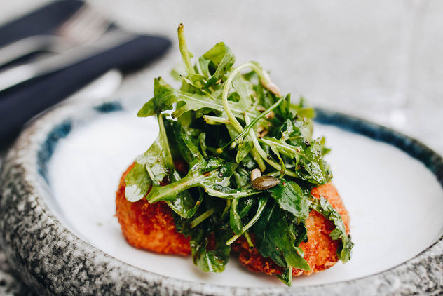 Arancini with rucola. Italian kitchen.jpg - Free image #454735